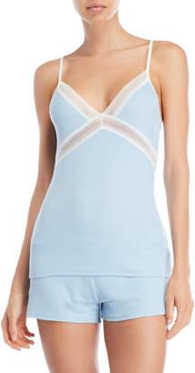 La Perla Light Blue Lace Trim Knit Camisole