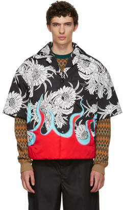 Prada Black Floral Shirt Jacket
