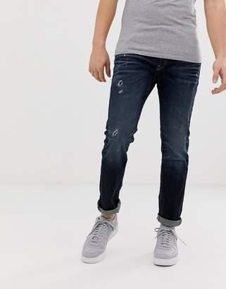 c52b17744ff Jack and Jones Intelligence TIM distressed slim fit jeans in dark wash
