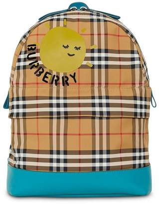 Burberry Sun Print Vintage Check Nylon Backpack