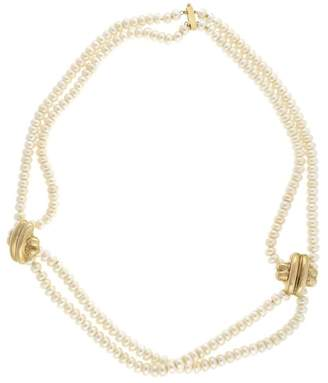 14K Yellow Gold with Two Rows Chinese Freshwater Pearl Necklace