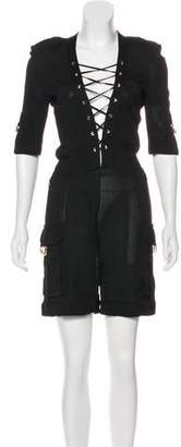 Balmain Short Sleeve High-Rise Romper