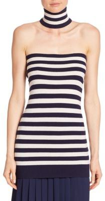Michael Kors Collection Stripe Cashmere Tube Top & Choker