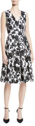 Michael Kors Floral-Print Box-Pleated Fit-And-Flare Dress