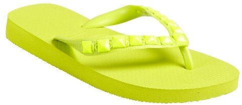 Dini's Los Angeles Los Angeles hot pink rubber pyramid studded thong flip-flops