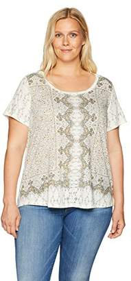 Lucky Brand Women's Plus Size Short Sleeve Allover Print TEE