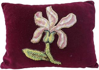 One Kings Lane Vintage Burgundy Appliqued Mohair Pillow