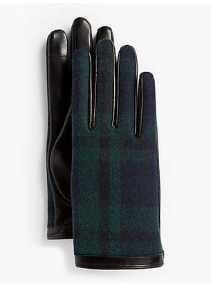 Talbots Leather Touch Gloves - Black Watch Plaid
