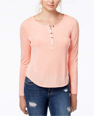 American Rag Juniors' Ruffled-Back Henley Top