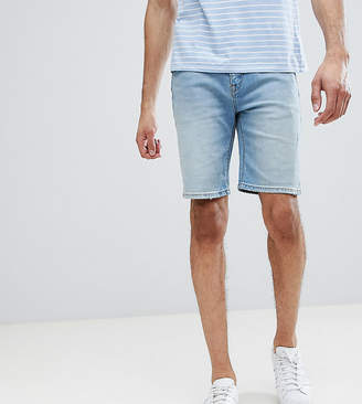 Asos DESIGN TALL Denim Shorts In Skinny Light Wash With Abrasions