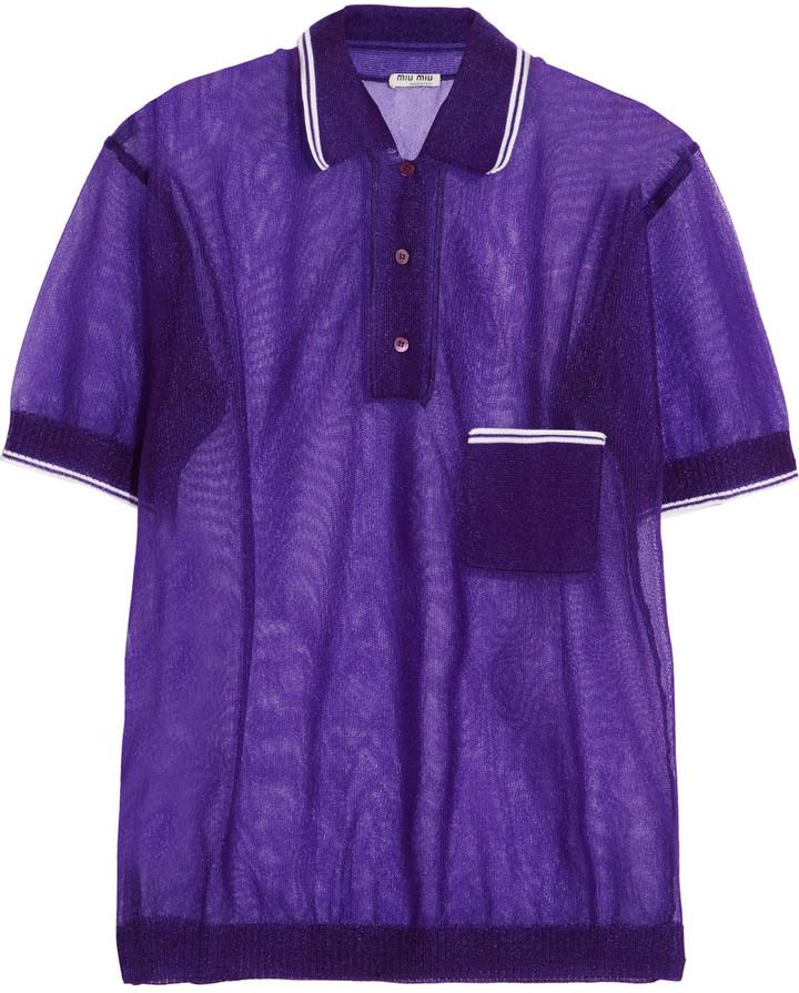 Miu MiuMiu Miu Wool-trimmed mesh polo shirt