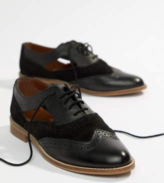 Asos DESIGN Milton Leather Flat Cut Out Brogue