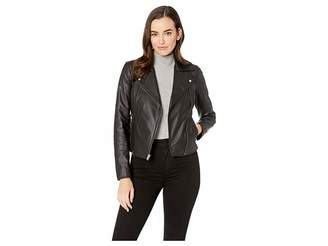 Andrew Marc Faith Feather Leather Asymmetric Zip Leather Jacket
