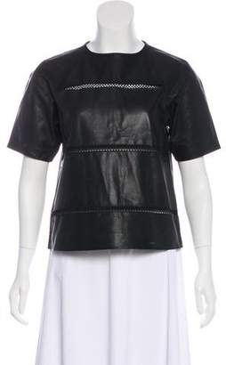 Tibi Leather Short Sleeve Top