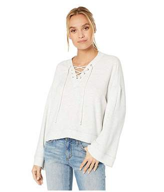 Cupcakes And Cashmere Soma Knit Oversized Lace-Up V-Neck Pullover