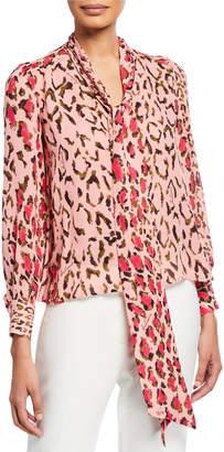 Carolina Herrera Leopard Print Scarf-Neck Blouse