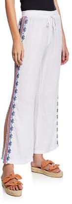 Johnny Was Dani Side-Slit Drawstring Cotton Gauze Pants