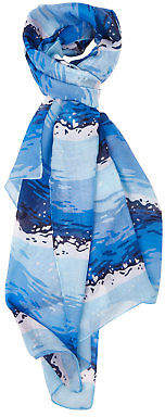 NEW Printed Village Womens Scarves Waves Scarf Size OneSize Blue