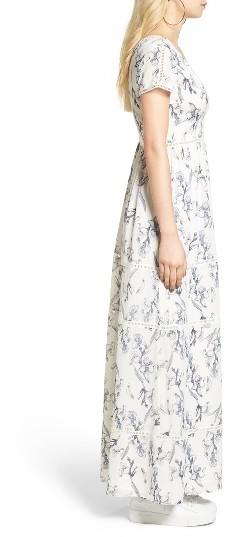 Women's Lucca Lattice Inset Floral Maxi Dress 4
