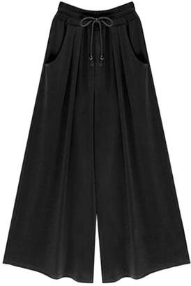 Wofupowga Womens Plus Size Wide Leg Elastic Waist Ankle Length Palazzo Pants 4X-Large