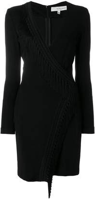Galvan wrap front fringed dress