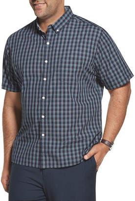 Van Heusen Nevertuck Ss Wovens Mens Short Sleeve Plaid Button-Front Shirt Big and Tall