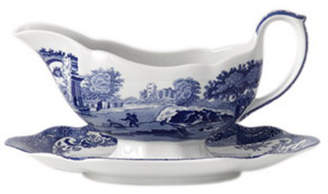 """Spode Blue Italian"""" Gravy Boat with Stand"""