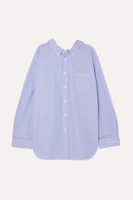 Balenciaga Swing Printed Striped Cotton-poplin Shirt - Blue
