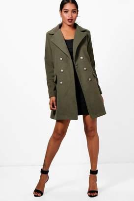 boohoo Marley Double Breasted Military Wool Look Coat
