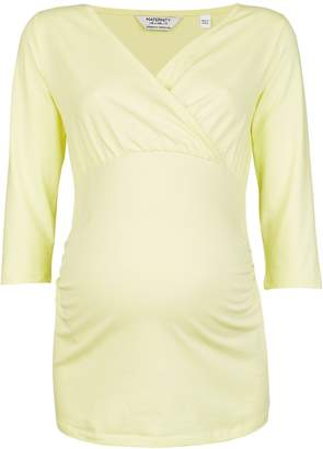 Dorothy Perkins Womens **Maternity Lemon Ruched Wrap Top