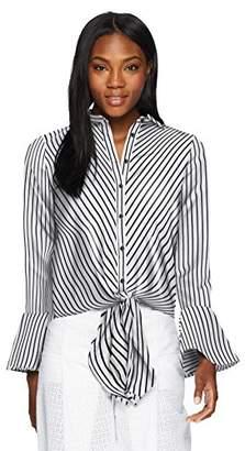 ECI New York Women's L/s Striped Tie Blouse