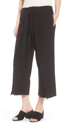 Eileen Fisher Washable Stretch Crepe Tie-Front Crop Wide Leg Pants