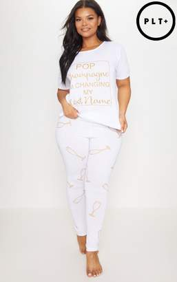 PrettyLittleThing Plus White Bride Pop Champagne Long PJ Set