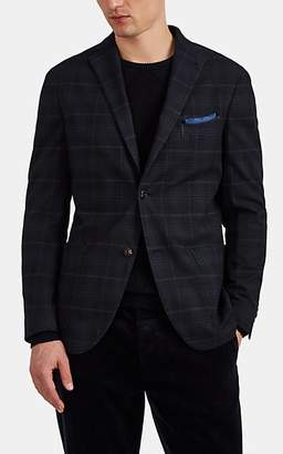 "Boglioli Men's ""K Jacket"" Plaid Cotton-Blend Two-Button Sportcoat - Navy"