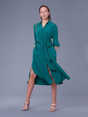 Diane von Furstenberg Sleeve Belted Shirt Dress