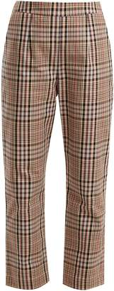 High-rise straight-leg checked cotton trousers