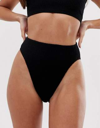 Asos DESIGN mix and match crinkle high leg high waist bikini bottom