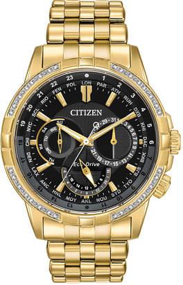 Citizen Eco-Drive Men Calendrier Diamond-Accent Gold-Tone Stainless Steel Bracelet Watch 44mm