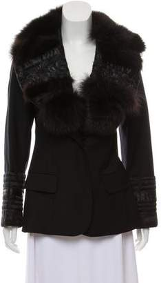 John Galliano Fur-Trimmed Wool Blazer