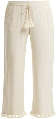 Figue Felipe tassel-hem silk-blend trousers