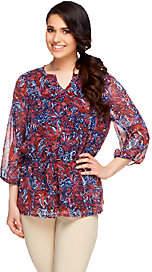 Liz Claiborne New York 3/4 Sleeve Elastic WaistPrinted Tunic