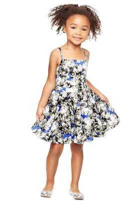 Milly Minis Peony Print Double Strap Flare Dress