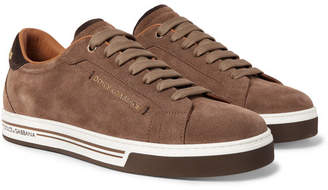Dolce & Gabbana Roma Logo-Embellished Suede Sneakers - Tan