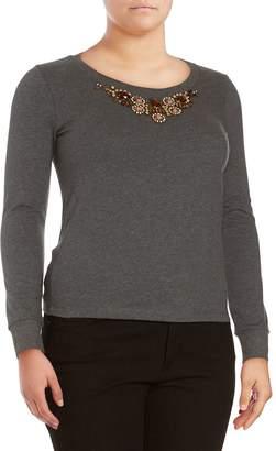 Basler Women's Marled Beaded Top