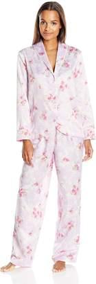 Carole Hochman Women's Packaged Brush Back Satin Pajama, Blossoms