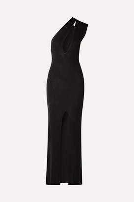 Jacquemus Azur One-shoulder Cutout Knitted Maxi Dress - Black