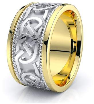 Celtic Alganati 10K White Yellow Gold 10mm Knot Wedding Band Rings