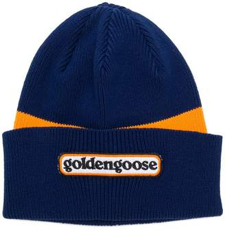 Golden Goose logo colour-block beanie hat