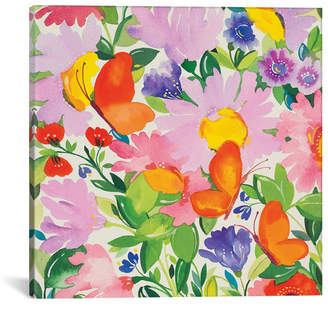 """iCanvas Butterflies and Echinacea"""" By Kim Parker Gallery-Wrapped Canvas Print - 26"""" x 26"""" x 0.75"""""""