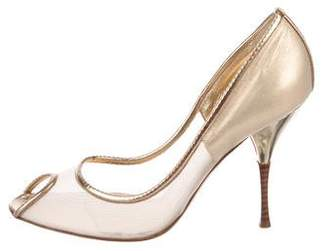 Casadei Metallic Peep-Toe Pumps